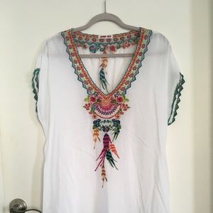 Johnny Was Sheer Embroidered Top